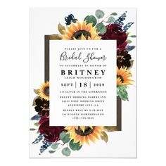 Sunflower Roses Burgundy Navy Blue Bridal Shower Invitation - tap to personalize and get yours #Invitation  #sunflower #bridal #shower #fall #rustic Wedding Menu Cards, Wedding Invitation Cards, Bridal Shower Invitations, Wedding Stationery, Wedding Rsvp, Wedding Blush, Floral Wedding, Lesbian Wedding, Glitter Wedding