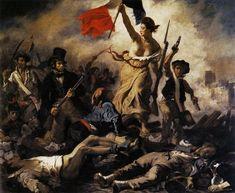 """""""La Libertad guiando al pueblo"""" de Eugène Delacroix, al detalle. Es otra de los cuadros representativo del movimiento romántico, pues idealiza un hecho histórico."""