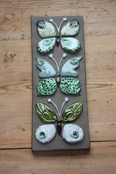 Wonderful butterflies wall plaque in ceramic from Jie Sweden: