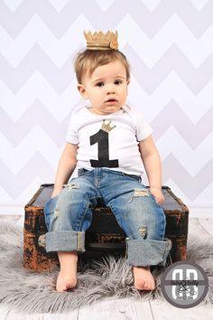 First Birthday Boy Outfit DIY Iron On Transfer Shirt Where The Wild 1 Crown For Bodysuit Year