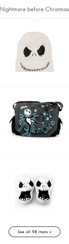 """""""Nightmare before Christmas"""" by beautiful-people-everywhere ❤ liked on Polyvore featuring accessories, hats, beanie, christmas beanie, knit hat, beanie hat, embroidered beanie, knit beanie, bags and messenger bags"""