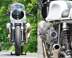 Black and White Moto Guzzi Le Mans 3 by HT Moto in Germany. Build details here: http://www.returnofthecaferacers.com/2013/07/black-and-white-moto-guzzi-le-mans-3.html