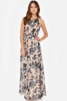 Little Mistress Wildest Dreams Blue Print Maxi Dress. $95