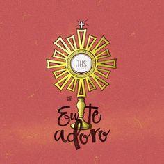 A igreja reservou a quinta-feira como o dia dedicado ao santíssimo sacramento este fato deve-se primeiramente a intuição da eucaristia: É o próprio sacrifício do Corpo e do Sangue de Jesus que Ele instituiu na Quinta-feira Santa, na noite em que ia ser entregue, quando celebrava com os seus Apóstolos a Última Ceia. . Na Eucaristia está Jesus Cristo de modo verdadeiro, real, substancial: em Corpo, Sangue, Alma e Divindade. Nela está presente de modo sacramental, ou seja, sob as espécies… Catholic Sacraments, Way To Heaven, Arte Popular, Corpus Christi, Christian Art, True Love, Scrap, Savior, Faith