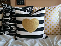 LOVE!!!! Black and gold nursery colors!!! Modern Gold Sparkle Heart Pillow Cover - Pink Heart on Black and White Stripe - 16 x16 by nest2impress on Etsy
