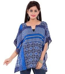 Buy Blue polyester tops top online