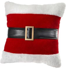 Santa Belt Fabric Euro Pillow Reviews (£15) ❤ liked on Polyvore featuring home, home decor, european home decor and fabric home decor
