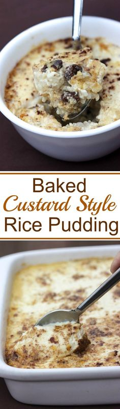 Old fashioned custard-style rice pudding