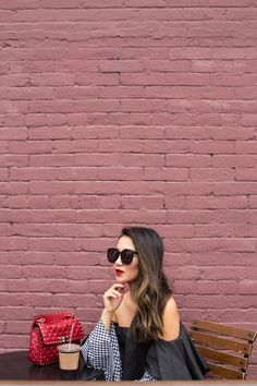 Texture Mix :: Gingham top & Red sandals