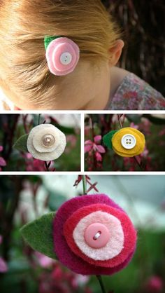 Felt flower clippie with button center.  I'm not sure about the circles not being perfectly round?