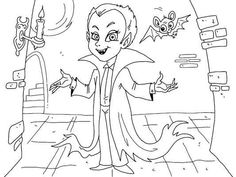 A cool vampire kid coloring page for Halloween. Lots of Halloween coloring pages… Halloween Coloring Pictures, Free Halloween Coloring Pages, Coloring Pages For Kids, Adult Coloring, Coloring Books, Vampire Kids, Halloween Patterns, Halloween 2016, Creepy