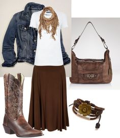 """""""Western Wear"""" by daisyhedo on Polyvore. Country modest, cowboy boots, brown."""