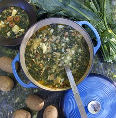 Portuguese Sausage Kale Potato Soup by Panning the Globe