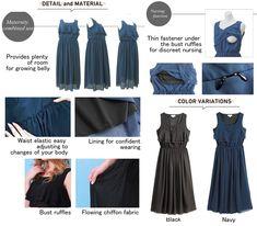 51e9bf1eb2b9f Maternity Fashion - Sweet Mommy Tiered Frill Chiffon Maternity and Nursing Long  Dress Navy L *