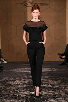 Jesper Hovring Autumn / Winter 2014 Runway Show black jumpsuit redhead model