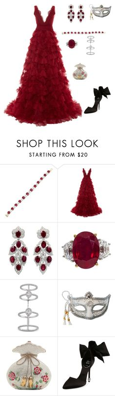 """""""Untitled #2007"""" by marty9950 ❤ liked on Polyvore featuring Marchesa, Messika, Masquerade, Judith Leiber and Roger Vivier"""