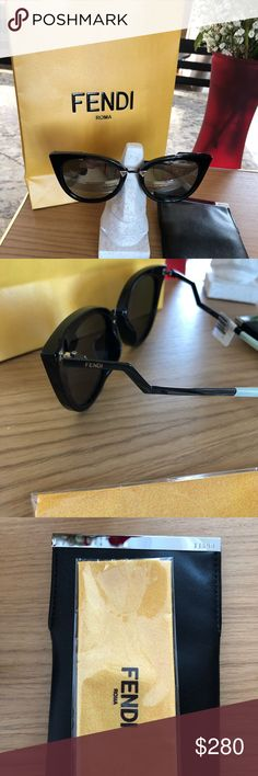 FENDI NEW SUNGLASS authentic FF0188S FENDI authentic sunglass in black with mirrored lenses. Size 52/20  with 140mm temple. Comes with Fendi case, cleaning cloth and Fendi shopping bag in picture. Currently selling at Saks Fifth Avenue for $480.00 Fendi Accessories Sunglasses