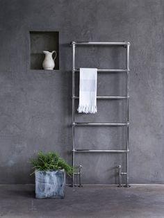 Heated Towel Rails - The Ladder Towel Rail Designer Heated Towel Rails & Radiators For Bathrooms Bathroom Towel Radiators, Bathroom Towel Rails, Bathroom Storage, Bathroom Ideas, Bookcase Wall, Bookshelf Design, Wall Shelves, Timeless Bathroom, Painting Bathtub