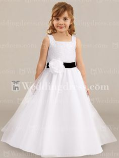 Long Tulle Flower Girl Dress with Sequins Fl187N