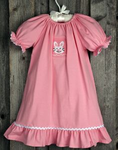 Girls Smocked Bunny Nightgown for Easter from Smocked Auctions