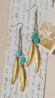 Gold  Turquoise FEATHER  EARRINGS Woodland