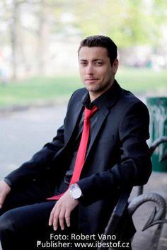 Ondrej Pavelec in Prague - black suit, red tie All Black Men, Black Suit Men, Red Wedding, Wedding Groom, White Shirt Black Tie, Accent Colors For Gray, Wearing All Black, New Jersey Devils, Men Formal
