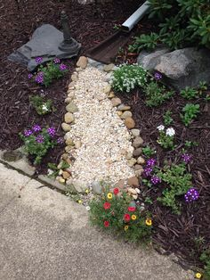 Dry creek bed for drainage. So beautiful! Dry creek bed for drainage. So beautiful! Fountains Backyard, Garden, Backyard Landscaping, Lawn And Garden, Backyard Diy Projects, Outdoor Gardens, Landscaping With Rocks, Creek Bed, Backyard
