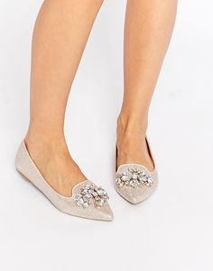 Image 1 of Head Over Heels Lou Lou Embellished Pointed Flat Shoes