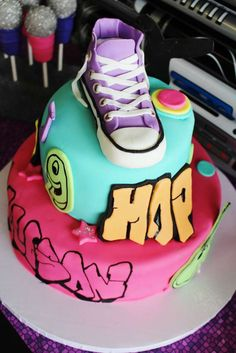 Cool cake at a hip hop dance birthday party! See more party ideas at CatchMyParty.com!