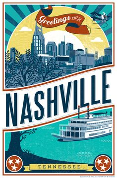 'Nashville poster' by lucie rice - illustration, graphic design, print design from united states. Illustrations Vintage, Gatlinburg Tennessee, Tennessee Usa, Tennessee Vacation, Nashville Trip, Visit Nashville, Portfolio Images, Road Trip Usa, Vintage Travel Posters