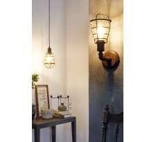 Wisząca LAMPA industrialna PORT SETON 49809 Eglo loftowa OPRAWA metalowa DRUCIANA klatka retro drut ZWIS vintage brąz antyczny