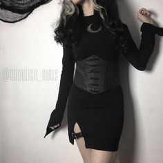 """268b2a9d7e0 Ghoulish Girls on Instagram  """"This dress is like fall on the top and summer  on the bottom 👙🧣Lunatic Short Dress and Luna Corset Belt (both in stock  at ..."""