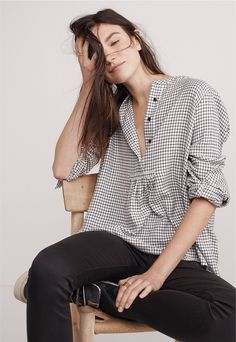 """madewell market popover plaid shirt worn with the 9"""" high-rise skinny jeans."""