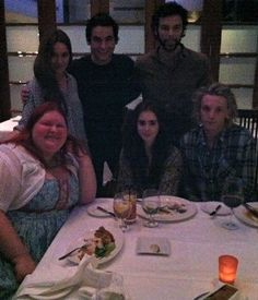 Aidan Turner - Cassandra Clare tweet:  I was going thru my phone looking for pictures of my cats and I found this picture of me and the TMI cast at dinner. Aren't they cute? Clockwise from me: Jemima, Kevin, Aidan, Jamie, Lily.