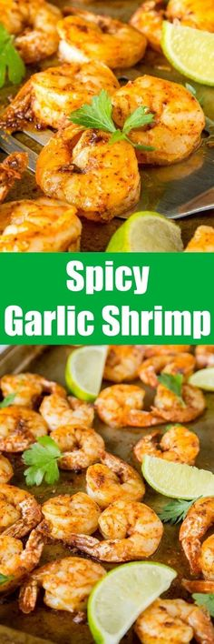 One Pan Spicy Garlic Shrimp - dinner is ready in 15 minutes, with this super flavorful, a little spicy, garlic shrimp recipe. Lobster Recipes, Shrimp Recipes, Shrimp Dishes, Bacon Recipes, Kitchen Recipes, Cooking Recipes, Healthy Recipes, Healthy Food, Food Dishes