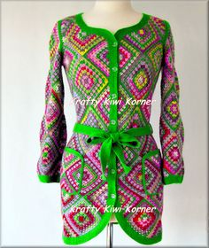 Crochet Granny Squares Jacket Made to Order by KraftytKiwiKorner