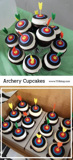 Archery Cupcakes - perfect for an archery themed party