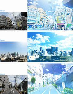 Blue-eyed Photography Photoshop How To Remove Background Drawing, Animation Background, Digital Painting Tutorials, Art Tutorials, Anime In, Bg Design, Manga Tutorial, Photoshop Illustrator, Environmental Art