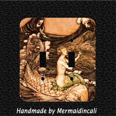 Vintage Mermaid and Dolphin Double Light Switch by Mermaidincali, $11.95