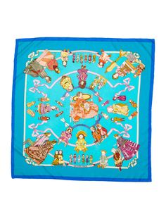 Blue and multicolor Hermès silks scarf with  Hello Dolly  motif throughout  and hand rolled edges. f63b9c3981d