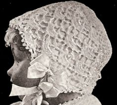 Vintage 1916 Baby Bonnet Crochet Pattern ~~ Lacy shells, inspiration only photo ($$ pattern)