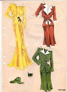 """""""Berit,"""" paper doll Model """"D"""" (6 of 6) / Gerda Vinding, Danish artist, 1921-1987"""