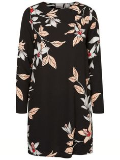 Black floral dress from VERO MODA. Wear with tights or over cool jeans and with a bomber.