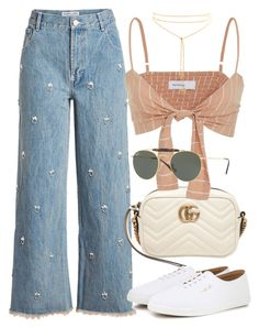 """Untitled #3553"" by camilae97 ❤ liked on Polyvore featuring Sandy Liang, The Row, Gucci, Faithfull and Ray-Ban"