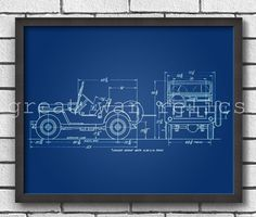 Willys MB Jeep - PATENT PRINT / WW2 US Army / Military Light Utility Vehicles