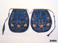 Folk costume pair of pockets, designed to be used on top of skirt. Embroidery on silk. From Simrishamn, Skåne, Sweden. 18th Century Dress, 18th Century Costume, 18th Century Clothing, 18th Century Fashion, Historical Costume, Historical Clothing, Swedish Tattoo, Medieval Dress Pattern, Sewing Pockets