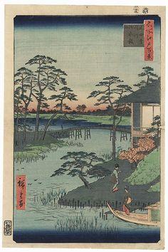 Mokuboji Temple, Uchigawa Inlet, Gozensaihata, 1857 by Hiroshige (1797 - 1858); Japanese woodblock print........................ ukiyoe japan decoration antique fineart home decor collectible japanese woodblock print handmade home art beautiful decorative etching illustration traditional woodcut