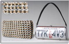bolsos hechos con chapas de refreco y matriculas de coche.19bis.com