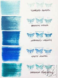 The third of 12 new distress ink colors introduced by Tim Holtz for Ranger Ink. This one is mermaid lagoon ~ shown with the pallet of previously launched blues. Distress Markers, Tim Holtz Distress Ink, Distress Oxide Ink, Druckfarben Im Distress-look, Mermaid Lagoon, Mermaid Mermaid, Vintage Mermaid, Mermaid Tails, Distress Ink Techniques