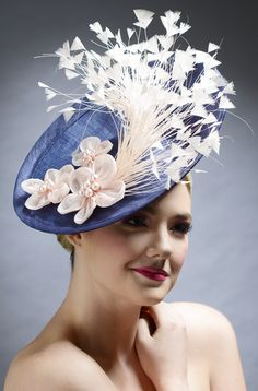 e296dbd6 Blue Woven Hat with White Feathers & Flowers ~ Karen Morris Millinery .